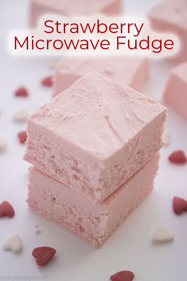 Text on image Strawberry Microwave Fudge