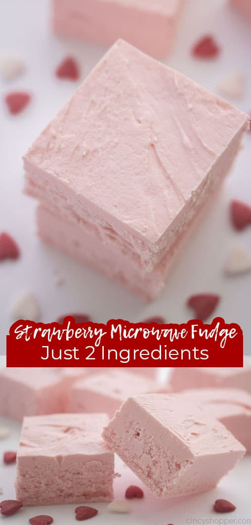 Long pin collage with text Strawberry Microwave Fudge Just 2 Ingredients