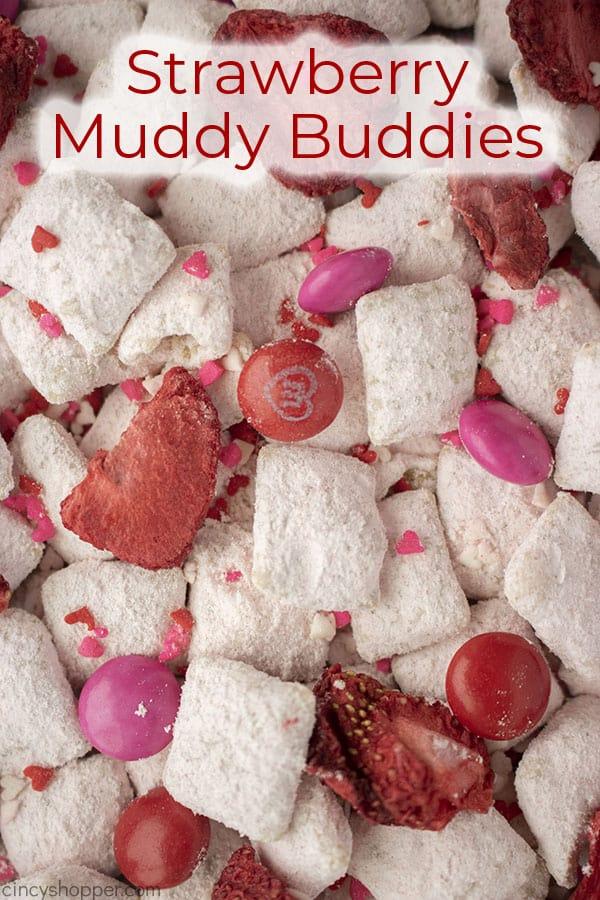Text on image Strawberry Muddy Buddies