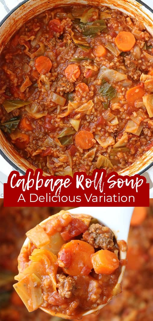 Long pin collage with text Cabbage roll soup A delicious variation