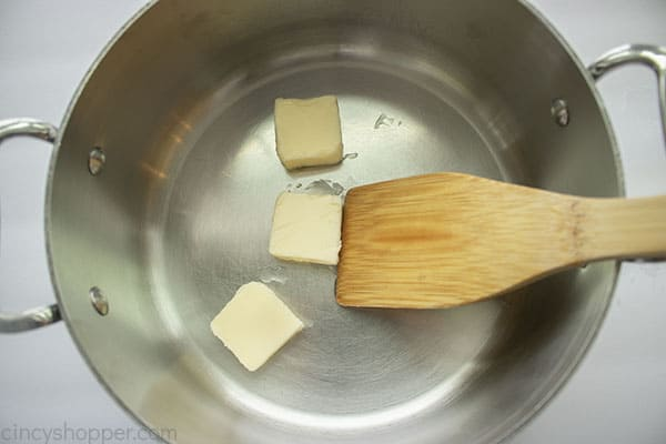 Butter added to pan for roux