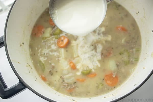 Milk added to soup