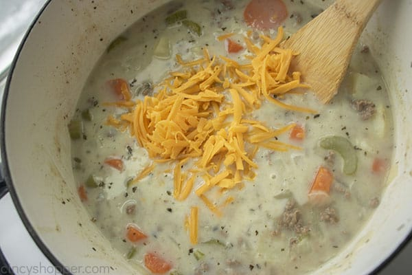 Cheese added to soup