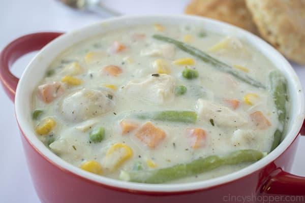 Bowl of Chicken Pot Pie Soup