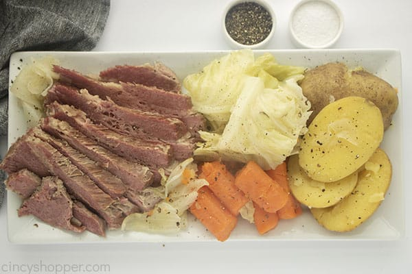 Platter with Irish Corned Beef and cabbage with veggies