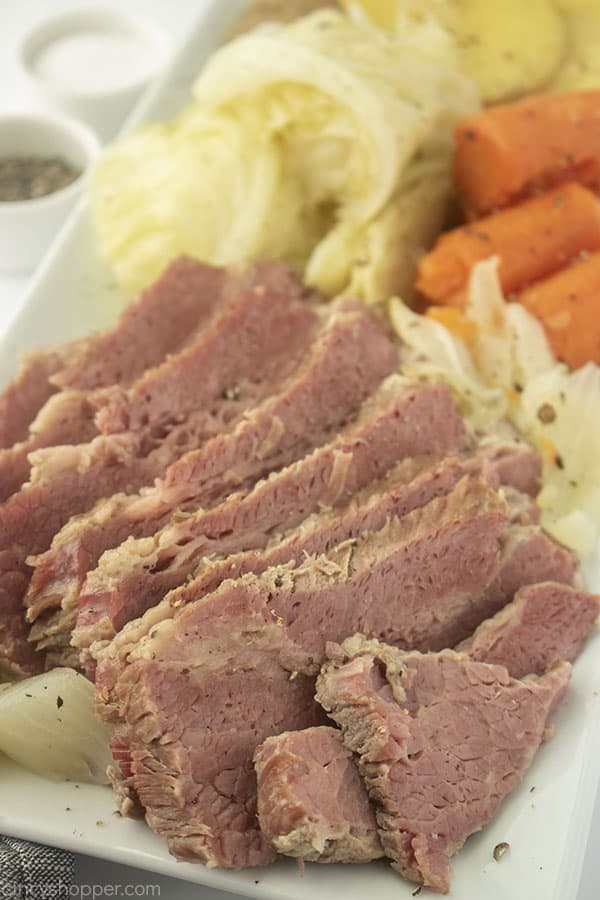 Corned Beef with cabbage on a platter