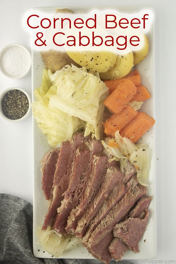 Text on image Corned Beef & Cabbage