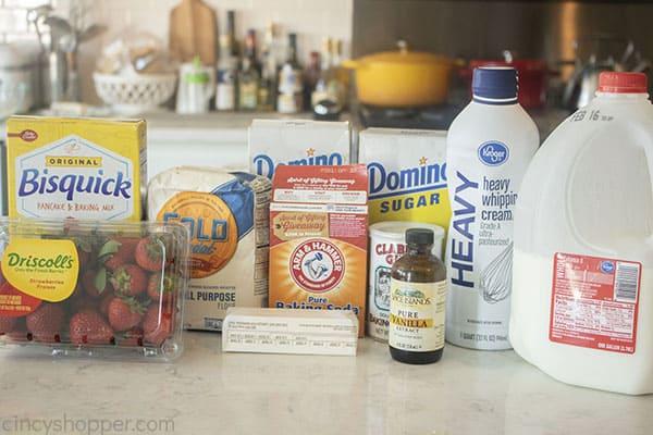 Ingredients for homade shortcake