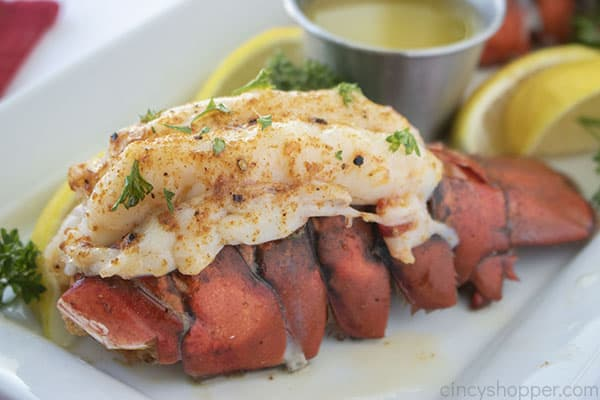 Baked not broiled lobster on a platter
