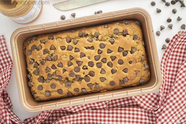 Peanut Butter and Chocolate Chip bread in a loaf pan