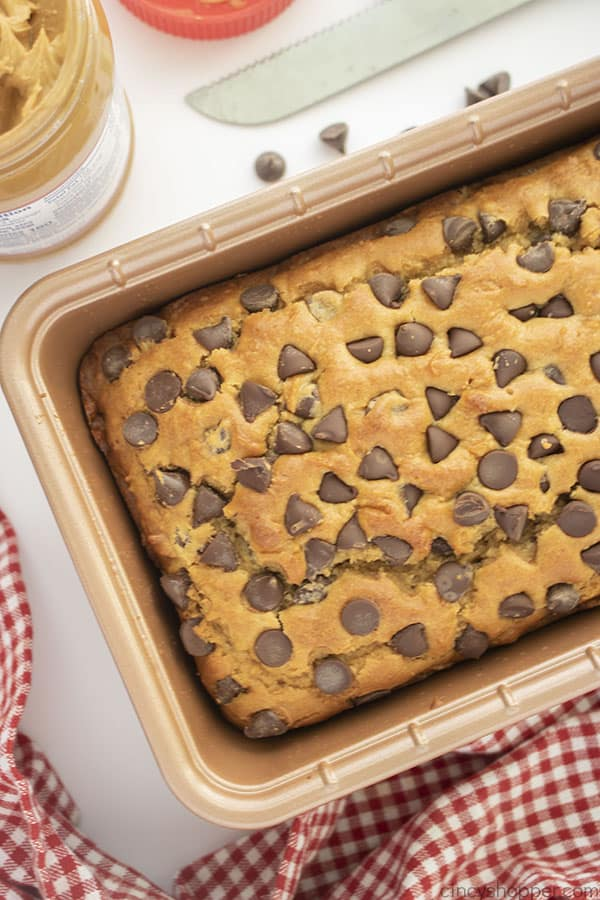Peanut Butter quick bread with chocolate chips in pan