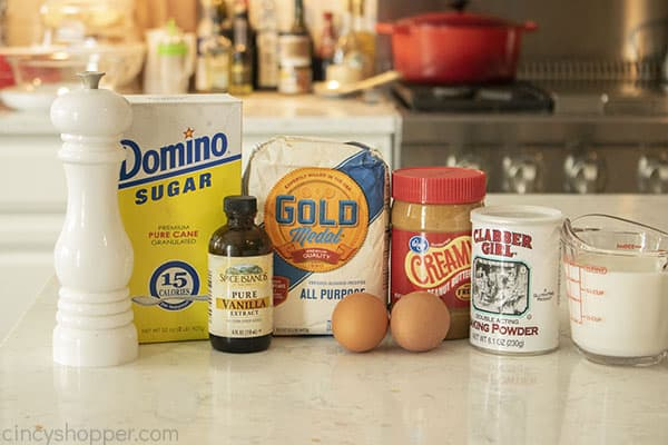 Ingredients to make Peanut Butter Bread