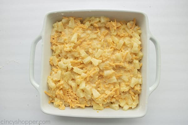 Baked Pineapple Casserole in a dish