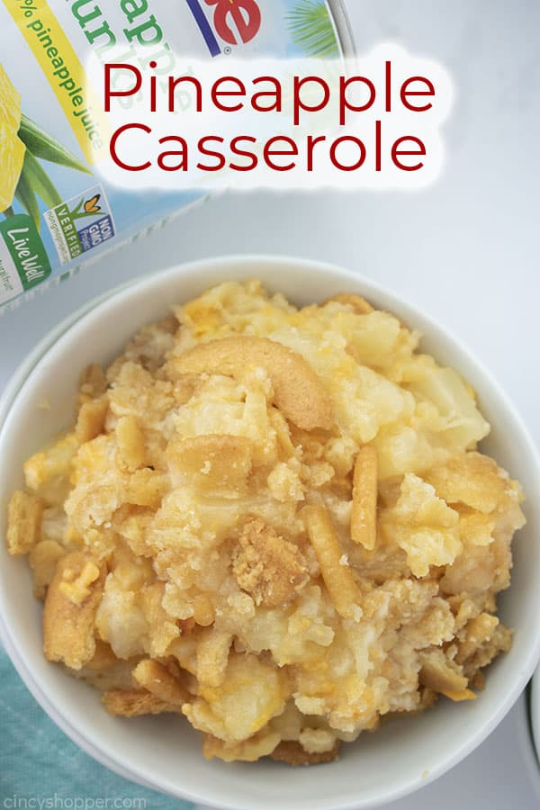 Text on image Pineapple Casserole