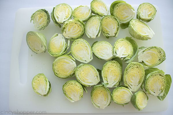 Cored and sliced Roasted Brussel Sprouts