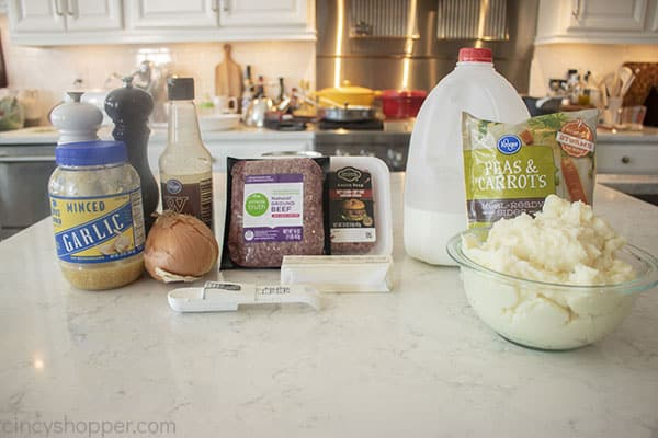 Ingredients to make Shepherd's Pie with Ground Beef