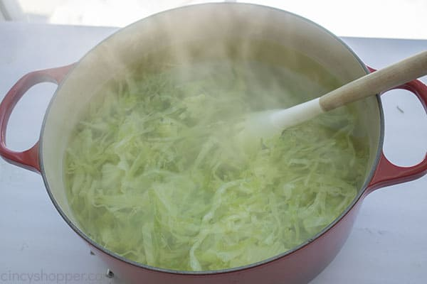 Boiled cabbage in a pot