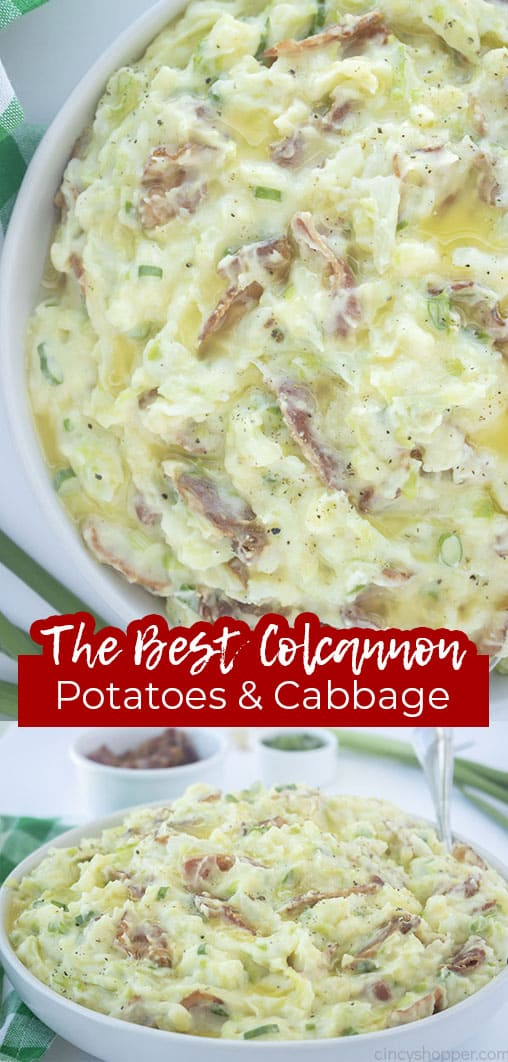 Long pin collage with text The BEST Colcannon Potatoes & Cabbage