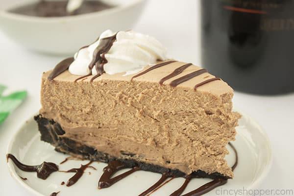 Slice of Irish Cream Cheesecake with drizzle
