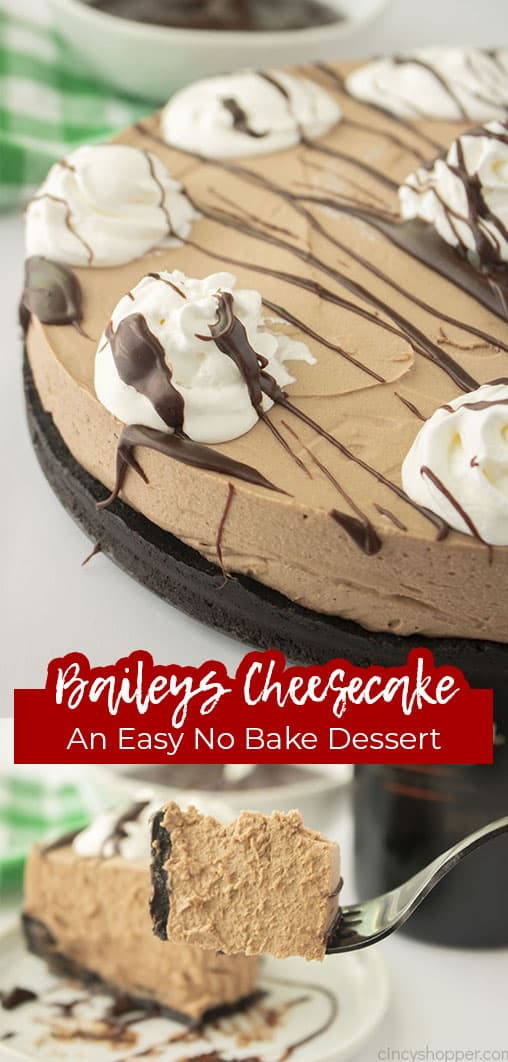 Long pin collage with text Bailey's Cheesecake An Easy No Bake Dessert