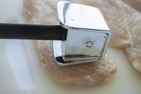 Chicken breast cut in half and pounded thinner