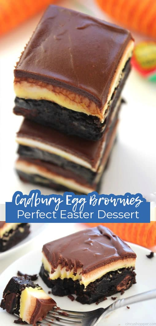 Long pin collage with text Cadbury Egg Brownies Perfect Easter Dessert