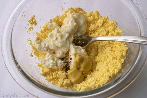 Mayo, mustard, vinegar, salt, and pepper added to egg yolks