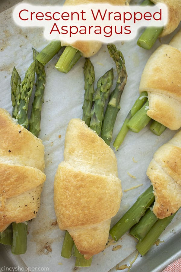 Text on image Crescent Wrapped Asparagus