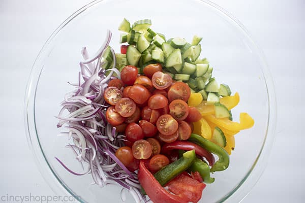 Fresh diced vegetables in a bowl
