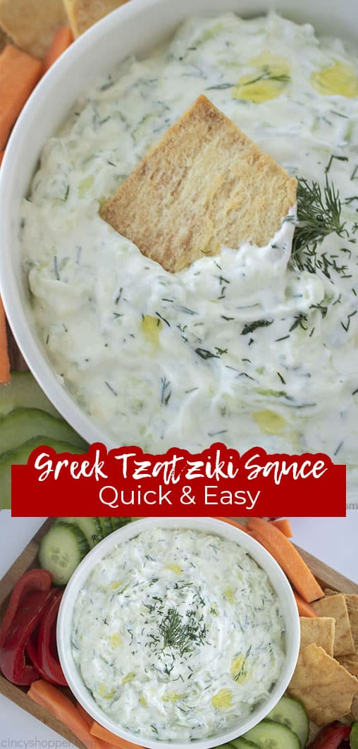 Long pin collage with text Greek Tzatziki Quick & Easy