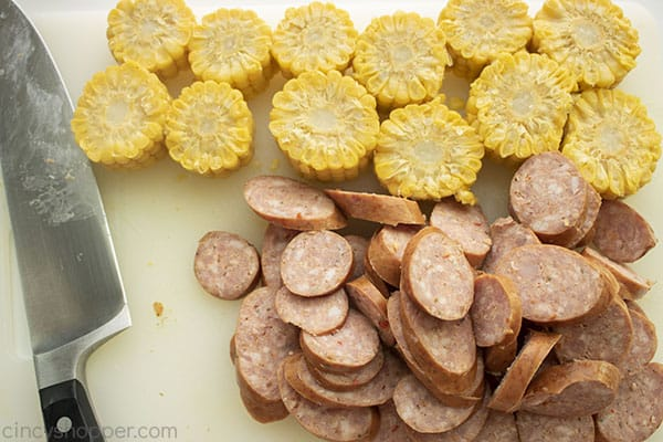 Corn and sausage sliced