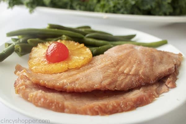 Pineapple Ham slices on plate