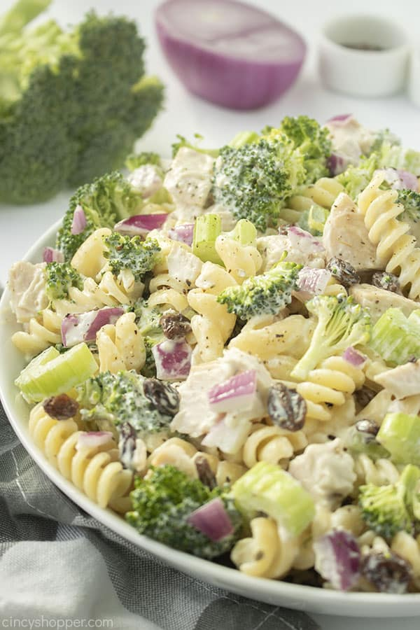 Chicken and Broccoli Pasta Salad in a bowl