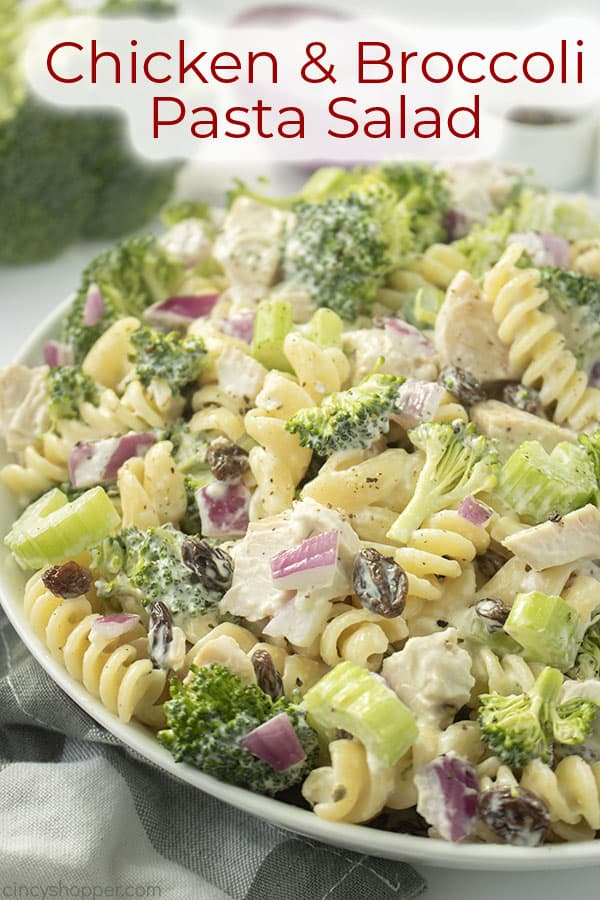Text on image Chicken and Broccoli Pasta Salad
