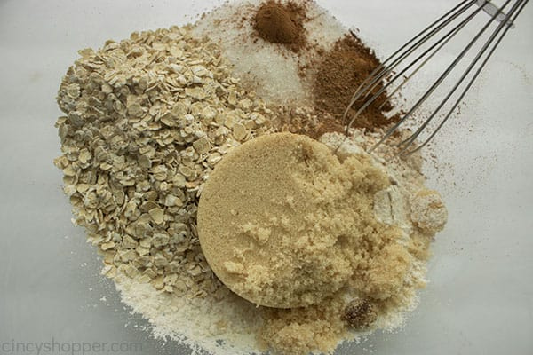 Crumble pie topping ingredients in a bowl