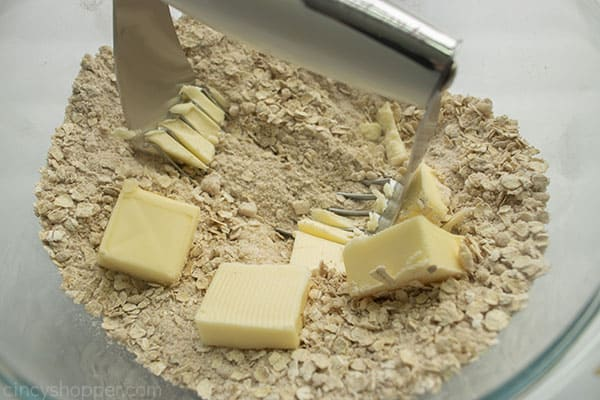 Cutting in butter for crumble pie topping
