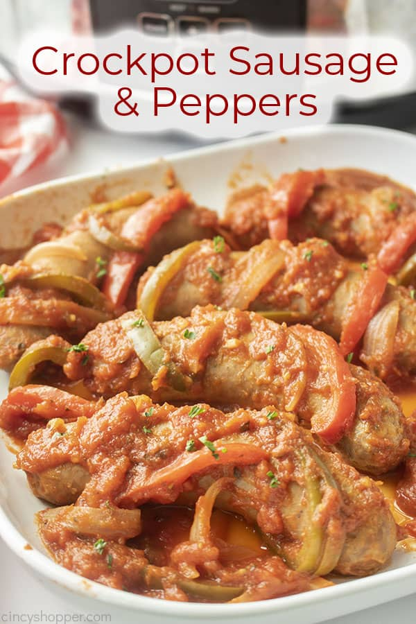 Text on image Crockpot Sausage and Peppers