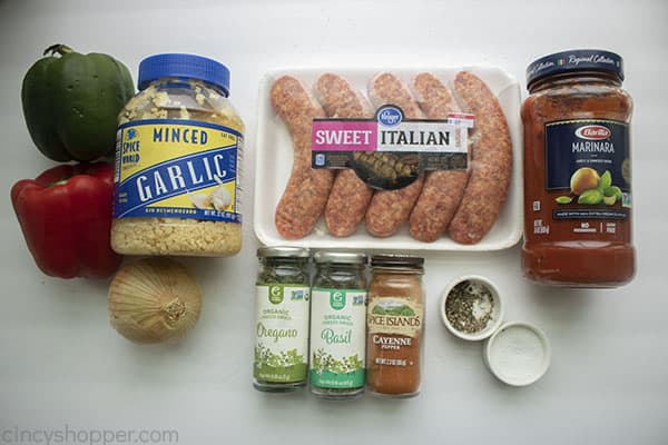 Ingredients for slow cooker sausage and peppers