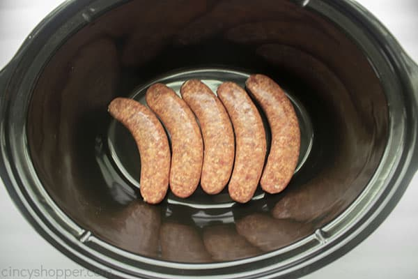 Italian sausage added to slow cooker
