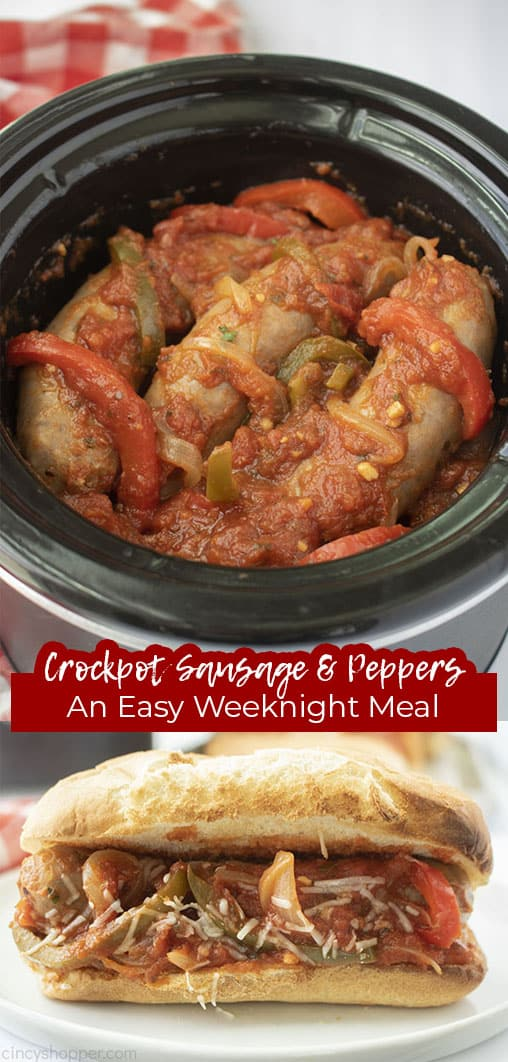 Long pin with text Crockpot Sausage & Peppers An Easy Weeknight Meal