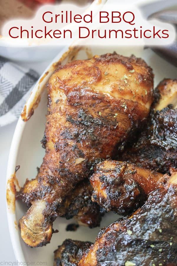 Text on image Grilled BBQ Chicken Drumsticks
