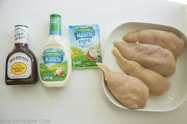 Ingredients for grilled chicken with ranch and barbeque