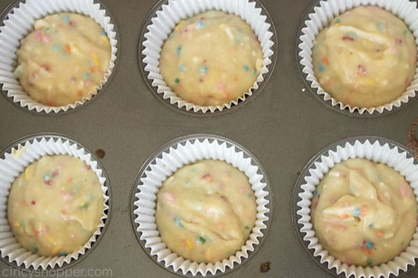 Funfetti cupcakes in liners
