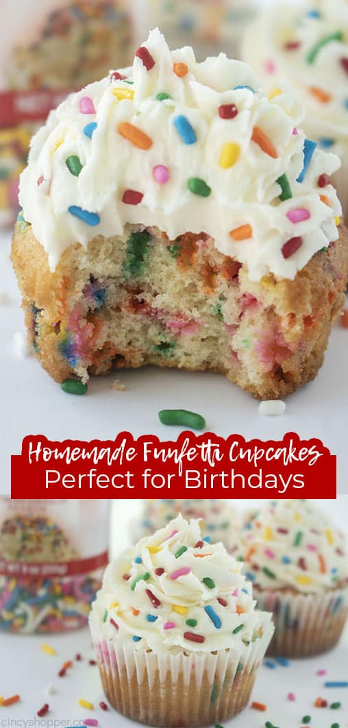 Long pin collage Homemade Funfetti Cupcakes Perfect for Birthdays