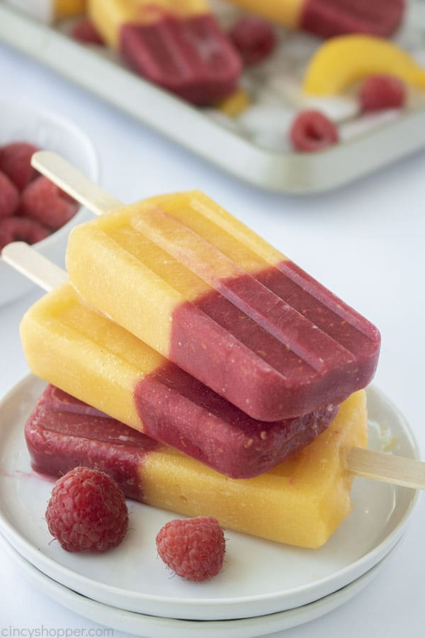 Stack of Raspberry Peach Popsicles