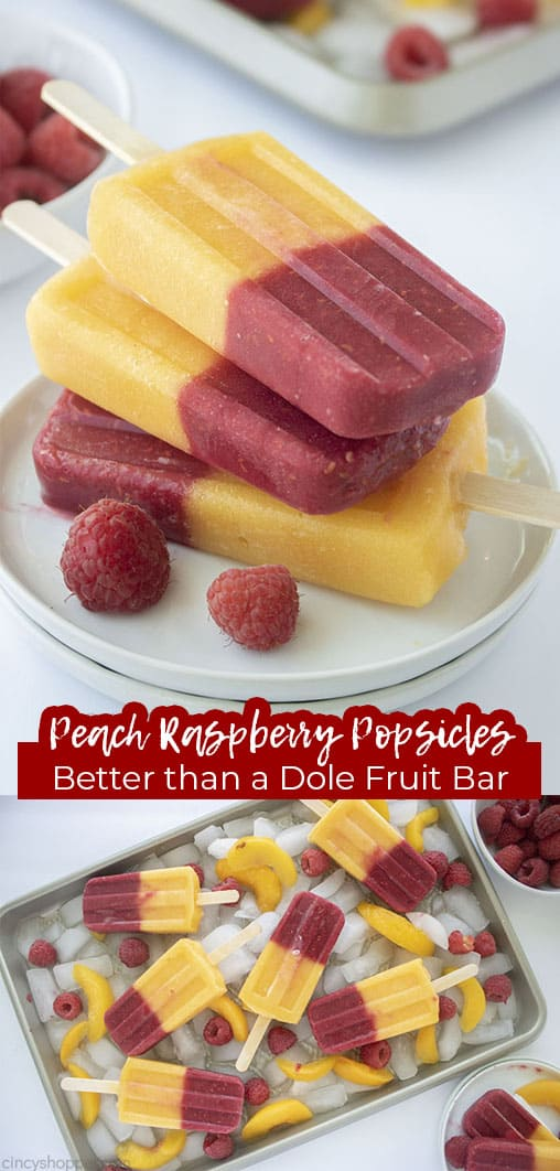 Long pin collage Peach Raspberry Popsicles Better than a Dole Fruit Bar