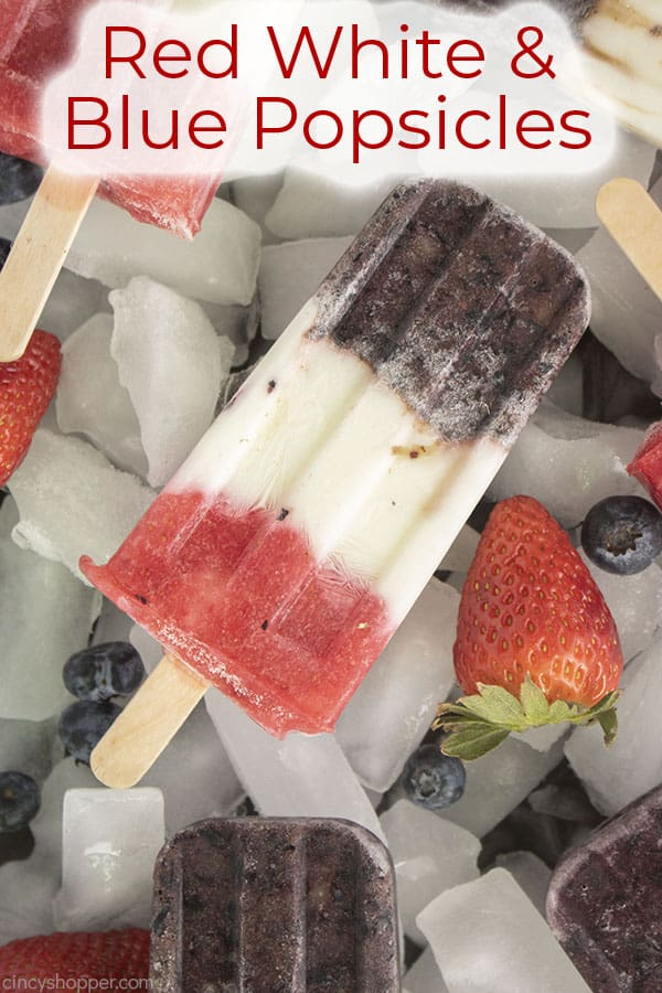 Text on image Red White & Blue Popsicles