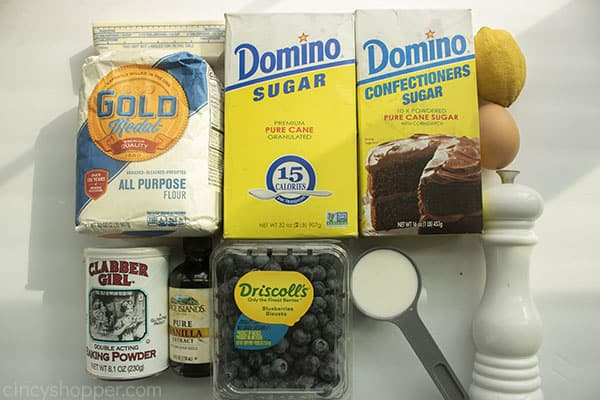 Ingredients for baked donuts with blueberries