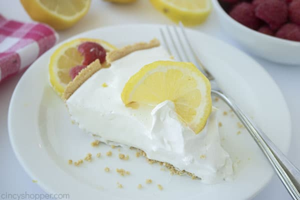 Slice of no bake lemonade pie
