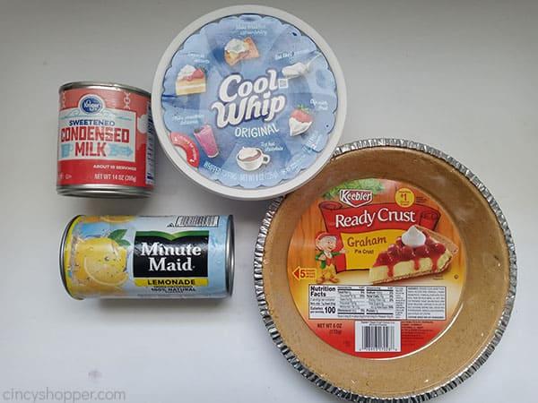 Ingredients for Frozen Lemonade Pie